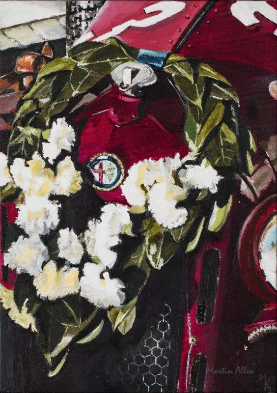 Winning Laurels Alfa Romeo car painting of a winning Alfa Romeo at the Goodwood Revival