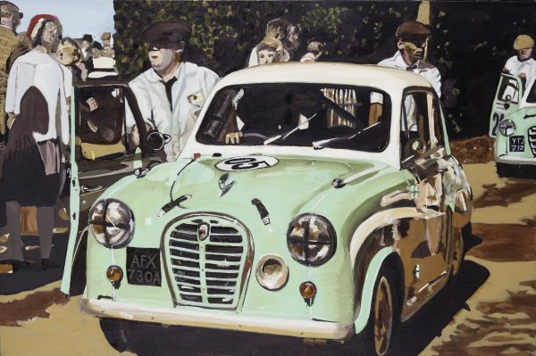 "St Mary's Trophy, is a  36"" x 24"" canvas of Austin A35's being pushed to the Assembly Area at the Goodwood Revival 2016. This particular car was driven by Ben Colburn who rolled it shortly after during the race - Ben walked away unharmed. Based on a photo by Richard Huckett."