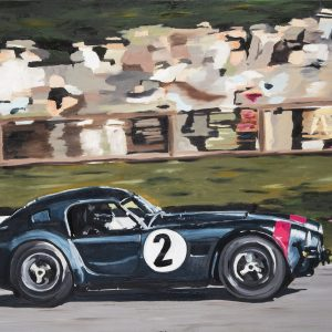"Cobra! Painted to celebrate the iconic Ford AV Shelby 289 / 427 Cobra race car. I've been lucky enough to see the actual car in racing anger at Goodwood, where I go most years. This painting is based on a photo by Richard Huckett. Original canvas 36"" x 24"" plus collectors limited edition signed A2 art prints on Somerset velvet paper."