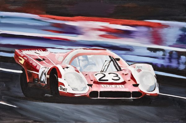 "Winning Ways A fine art original painting of the iconic number '23' Porsche 917 at the Le Mans 24 hour race. The original canvas is 36"" x 24"" along with limited edition signed A2 pigment prints on Somerset ragroll paper. The canvas was painted to celebrate the iconic Porsche 917 Group C racing car that dominated at Le Mans 24 hour motor race for many years."