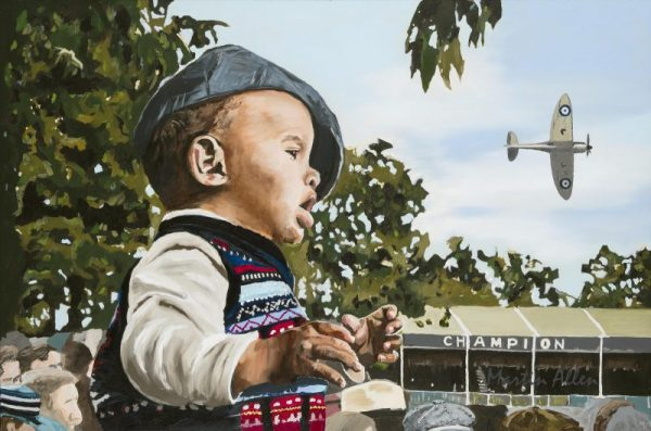 fine car art portait painting of small boy and spitfire at Goodwood