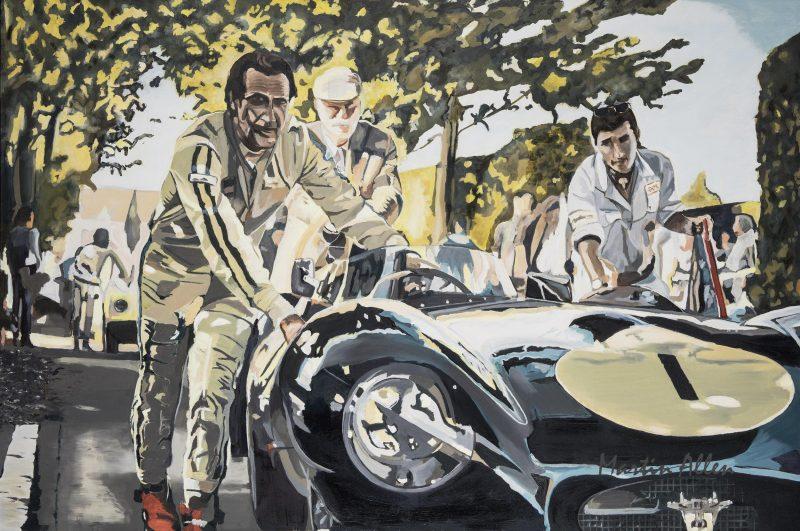 D type Jaguar art painting at Goodwood