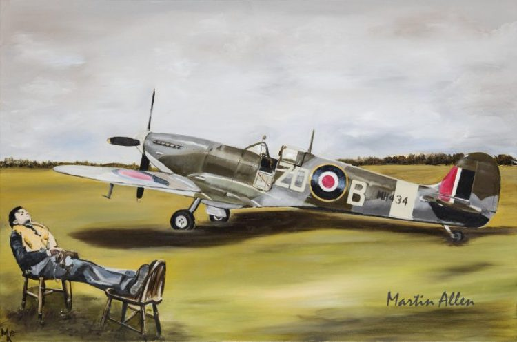 Sleeping pilot Spitfire MH434 Painting Art