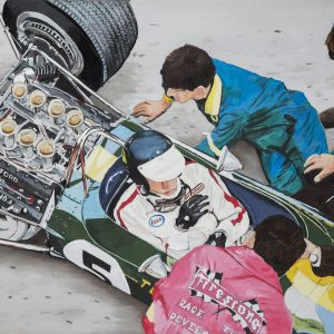 """On the way to victory"" Oil on canvas and limited edition prints depicting Formula 1 driver Jim Clark in his Lotus 49 race car, overlooked by the Lotus boss Colin Chapman and the Lotus mechanics at the Dutch Grand Prix at Zandvoort 1967"
