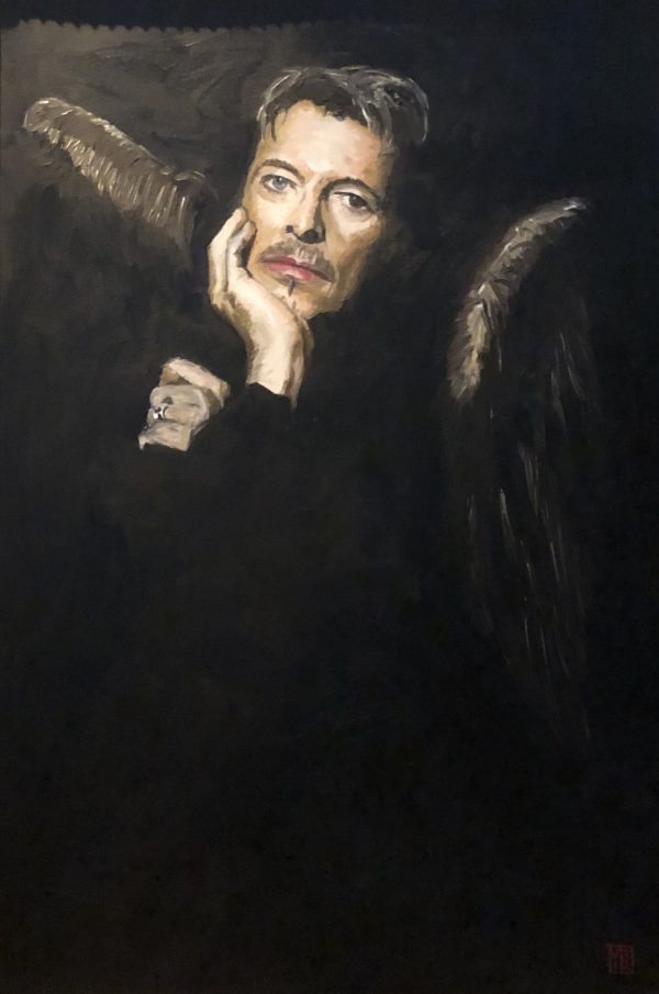 David Bowie art portrait painting with golden wings