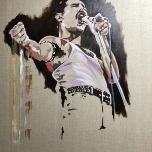 Oil on Linen painting and limited edition prints of Freddie Mercury, iconic lead singer of pop group Queen, and singer of the anthem Bohemian Rhapsody. Freddies' passion, music and style will be greatly missed by all.