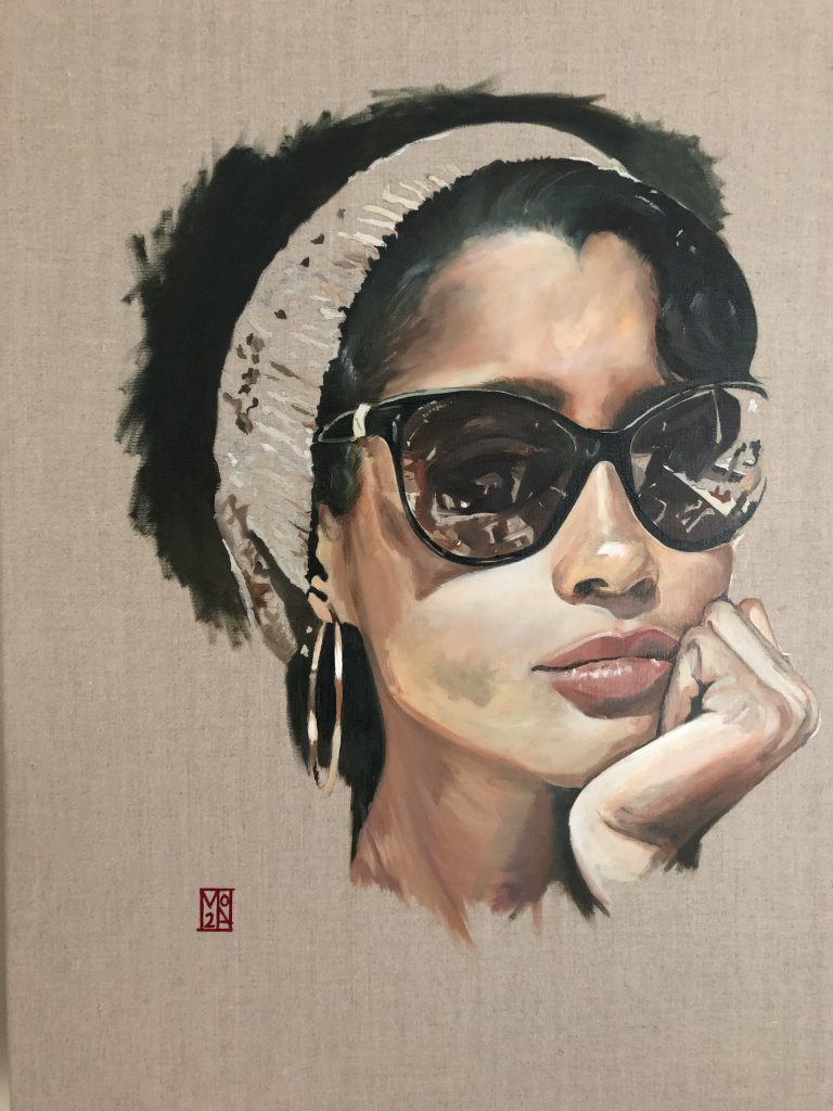 Roys Art Fair - Perception, An fine art original portrait oil on canvas painting and art prints by emerging London artist Martin Allen. One of a new series of thought provoking paintings depicting the alluring @djadja.
