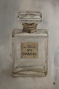 Vintage Chanel No 5 Perfume Parfam Bottle historic art painting