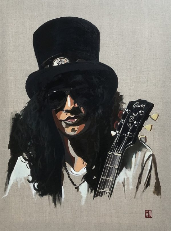 slash Guns n Roses fine art portrait oil painting